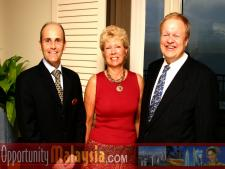 Jacques Roy, June Wolfe and Bernhard Schutte.From Left to right: Jacques Roy, General Manager of The Atlantic Hotel, June Wolfe, President or South Florida Manufacturers Association and Bernhard Schutte, CEO of Digital Media Network (DMNI)